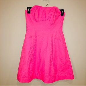 lilly pulitzer pink strapless A line dress SZ 6